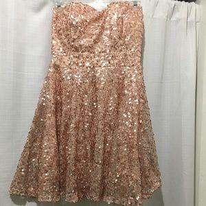 Lulu's Strapless Rose Gold Sequin dress